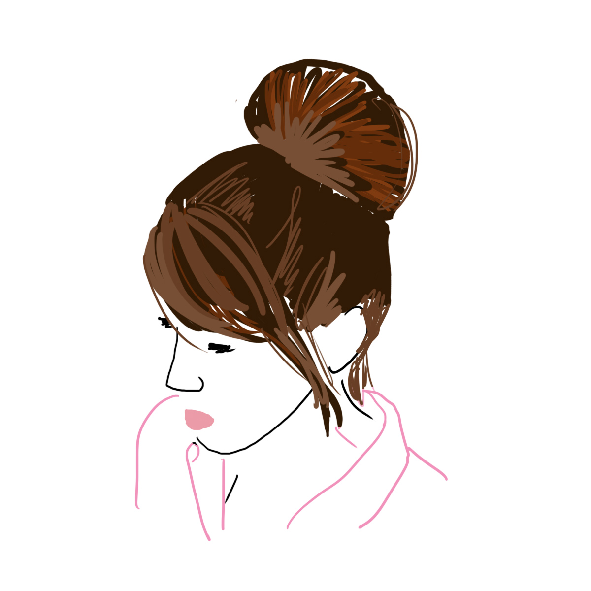 Illustration of a woman with a bun