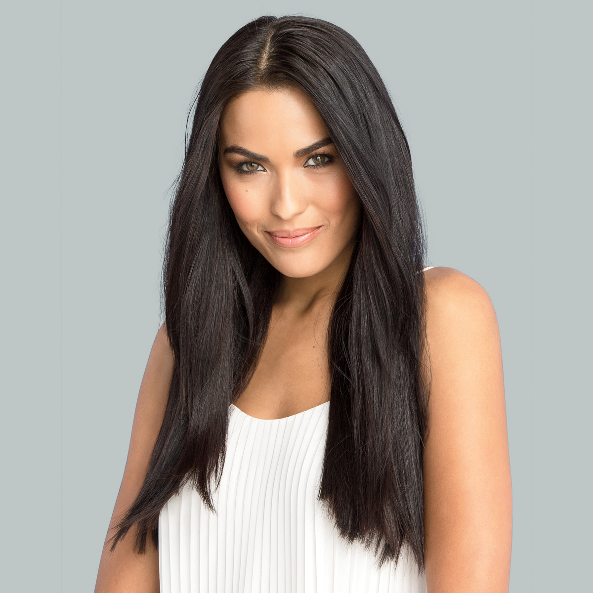 Signature Style hair model with straight brunette hair